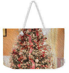 Weekender Tote Bag featuring the photograph Vintage Christmas Tree In Classic Crimson Red Trim by Shelley Neff