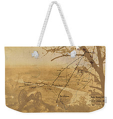 Weekender Tote Bag featuring the digital art Vintage Civil War Map Art, The Battle Of Chattanooga At Lookout Mountain by Shelli Fitzpatrick