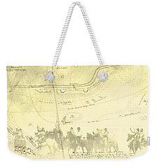 Weekender Tote Bag featuring the digital art Vintage Civil War Map Art, The 2nd Battle Of Rappahannock Station  by Shelli Fitzpatrick