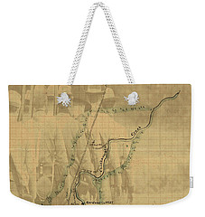 Weekender Tote Bag featuring the digital art Vintage Civil War Map Art, The Battle Of Chickamauga by Shelli Fitzpatrick