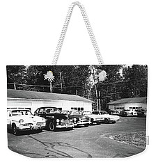 Weekender Tote Bag featuring the photograph Vintage Classic Cars In Black And White by Trina Ansel