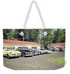 Weekender Tote Bag featuring the photograph Vintage Classic Cars by Trina Ansel