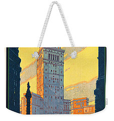 Vintage Cleveland Travel Poster Weekender Tote Bag by George Pedro