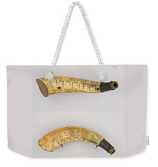 Weekender Tote Bag featuring the photograph Vintage 1767 Colonial American Powder Horn Four Views by John Stephens