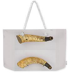 Vintage 1767 Colonial American Powder Horn Four Views Weekender Tote Bag by John Stephens