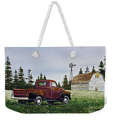 Weekender Tote Bag featuring the painting Vintage Country Pickup by James Williamson