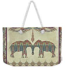 Weekender Tote Bag featuring the painting Vintage Elephants Kashmir Paisley Shawl Pattern Artwork by Audrey Jeanne Roberts