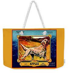 Vintage English Setter Apples Advertisement Weekender Tote Bag by Peter Gumaer Ogden