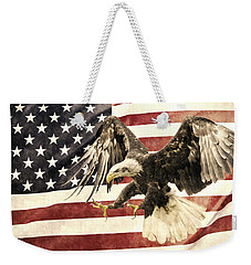 Weekender Tote Bag featuring the photograph Vintage Flag With Eagle by Scott Carruthers