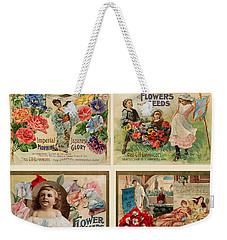 Vintage Flower Seed Packets Weekender Tote Bag by Peggy Collins