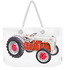 Weekender Tote Bag featuring the painting Vintage Ford Tractor 1941 by Jack Pumphrey