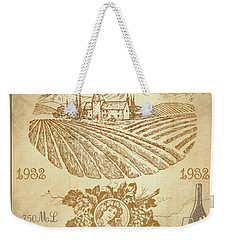 Weekender Tote Bag featuring the digital art Vintage French Wine Label-jp3973 by Jean Plout