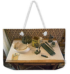 Weekender Tote Bag featuring the photograph Vintage Gentlemen's Preparation Table by Gary Slawsky