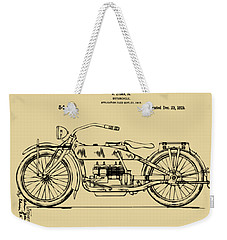 Vintage Harley-davidson Motorcycle 1919 Patent Artwork Weekender Tote Bag