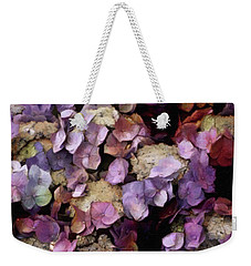 Weekender Tote Bag featuring the mixed media Vintage Hydrangea by Susan Maxwell Schmidt