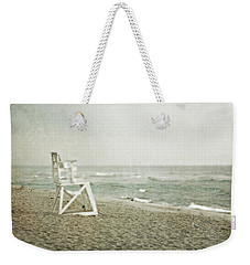 Vintage Inspired Beach With Lifeguard Chair Weekender Tote Bag by Brooke T Ryan