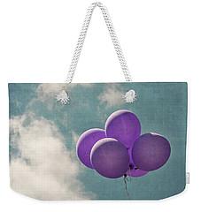 Vintage Inspired Purple Balloons In Blue Sky Weekender Tote Bag by Brooke T Ryan