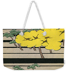 Vintage Japanese Illustration Of An Abstract Forest Landscape With Flying Cranes Weekender Tote Bag