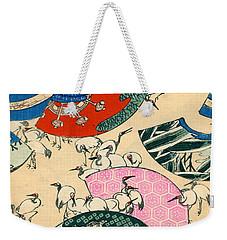 Vintage Japanese Illustration Of Fans And Cranes Weekender Tote Bag