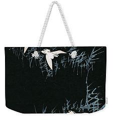 Vintage Japanese Illustration Of Three Cranes Flying In A Night Landscape Weekender Tote Bag