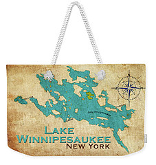 Vintage Lake Winnipesaukee Ny Map Weekender Tote Bag