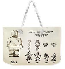 Vintage Lego Toy Figure Patent - Graphite Pencil Sketch Weekender Tote Bag