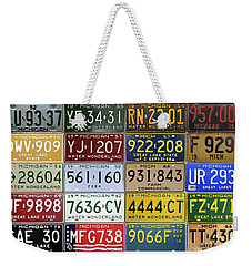 Vintage License Plates From Michigan's Rich Automotive Past Weekender Tote Bag by Design Turnpike