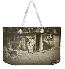 Vintage Log Cabin Weekender Tote Bag by Linda Phelps