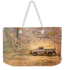 Vintage Map And Truck Weekender Tote Bag by Mary Hone
