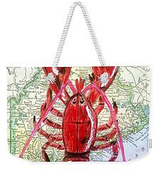 Vintage Map Maine Red Lobster Weekender Tote Bag by Scott D Van Osdol