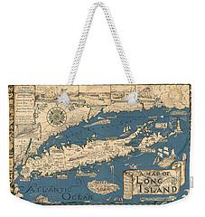 Vintage Map Of Long Island Weekender Tote Bag by James Kirkikis
