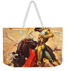 Vintage Mexico Bullfight Travel Poster Weekender Tote Bag by George Pedro