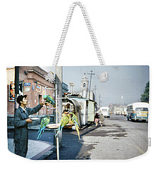Weekender Tote Bag featuring the photograph Vintage Mexico City Man With Parrots by Marilyn Hunt