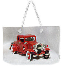 Vintage Model Fire Chiefcar Weekender Tote Bag by Linda Phelps