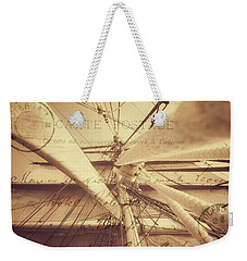 Vintage Nautical Sailing Typography In Sepia Weekender Tote Bag