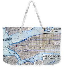 Vintage New York Map Weekender Tote Bag