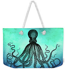 Vintage Octopus On Blue Green Watercolor Weekender Tote Bag