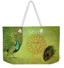 Weekender Tote Bag featuring the digital art Vintage Peacock Art by Peggy Collins