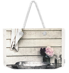 Weekender Tote Bag featuring the photograph Vintage Peony And Hand Wash Basin by Julie Palencia