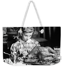 Vintage Photo Depicting Thanksgiving Dinner Weekender Tote Bag