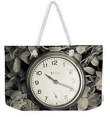 Weekender Tote Bag featuring the photograph Vintage Pocket Watch Over Flowers by Edward Fielding