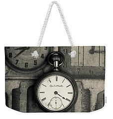 Weekender Tote Bag featuring the photograph Vintage Pocket Watch Over Old Clocks by Edward Fielding