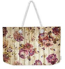 Vintage Purple Shabby Chic Country Roses On Wood Weekender Tote Bag