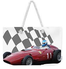 Vintage Racing Car And Flag 2 Weekender Tote Bag