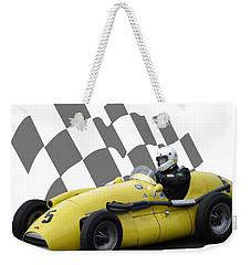 Vintage Racing Car And Flag 4 Weekender Tote Bag