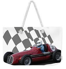 Vintage Racing Car And Flag 6 Weekender Tote Bag