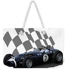 Vintage Racing Car And Flag 8 Weekender Tote Bag