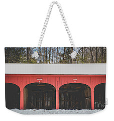 Weekender Tote Bag featuring the photograph Vintage Red Carriage Barn Lyme by Edward Fielding