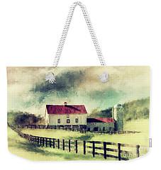 Weekender Tote Bag featuring the digital art Vintage Red Roof Barn by Lois Bryan