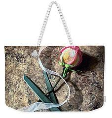 Vintage Scissors, Dried Pink Rose And Ribbon Weekender Tote Bag